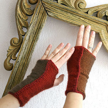 20% SALE Cinnamon gloves, Elegant woman gloves in shades of cinnamon, Romantic fingerless gloves mittens, Steem punk arm warmers