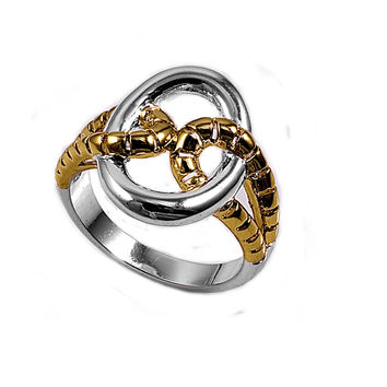 925 Sterling Silver Two-Toned Snake Skin Design 18MM Ring