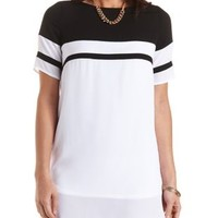 Color Block Chiffon Shift Dress by Charlotte Russe - Black/White