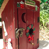 Rustic Christmas Outhouse Bird House Home Wooden Decor