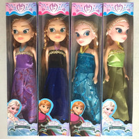 4 Pcs/Set Snow Queen Boneca Princess Anna and Elsa Dolls Baby Girls Toys Doll Elza Plush Party Birthday Kids Gift