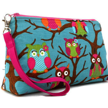 Flat Bottom Wristlet Zipper Pouch - Owls on Teal Corduroy - Ready to Ship