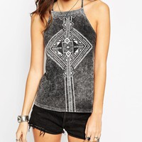 ASOS Cami Top in Acid Wash With Henna Placement Print