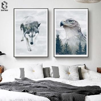 Nordic Forest Silhouette Eagle Canvas Art Posters and Prints Wall Art Picture Wolf Painting Decorative Modern Home Decoration