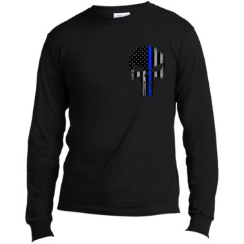 Police Punisher Thin Blue Line Long Sleeve Made in the US T-Shirt