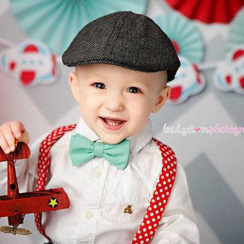 Dark Mint Green Bow Tie and Red / White Polka Dot Suspender set ( Men, boys, baby, toddler, infant )