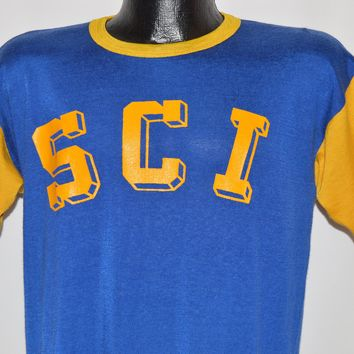 """70s SCI """"Bob"""" Blue And Yellow Jersey t-shirt Large"""