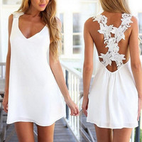 2015 spring and summer hot style white Backless lace sleeveless dress = 1946519492