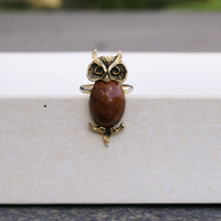 Owl Ring-- 1970s Vintage Gold-Plated
