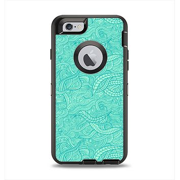 The Teal Leaf Laced Pattern Apple iPhone 6 Otterbox Defender Case Skin Set