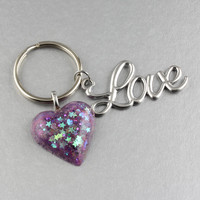 Love Keychain/Love Charm w. Purple Glittery Resin Heart Key Chain/Key Ring/New Shop Sale/Heart Key Chain/Gift Ideas Under Ten/Tween Gifts