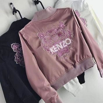 DCKKID4 Kenzo Embroidered Logo Jersey Bomber Jacket