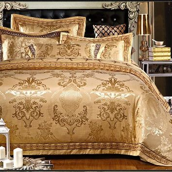 Luxury 6pc. Gold Satin Jaquard Queen 100% Cotton Noble Duvet Cover Bedding Set