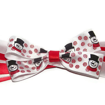 Winter Holiday Snowman with Red and White Spikes Hair Bow for Girls
