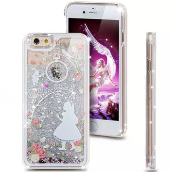 Liquid Glitter Phone Case for Iphone 5 5S (Alice in Wonderland)