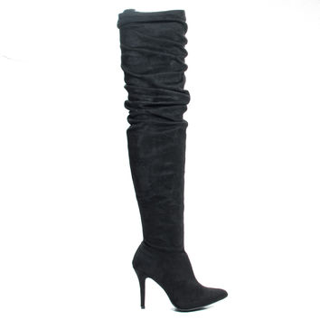 Monet23v Black By Anne Michelle, Thigh High Wrinkled High Heel Dress Boots