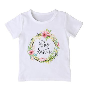 FOCUSNORM Summer Baby Kids Girl Little Big Sister Match Clothes Short Sleeve Floral Jumpsuit Romper Outfits T Shirt