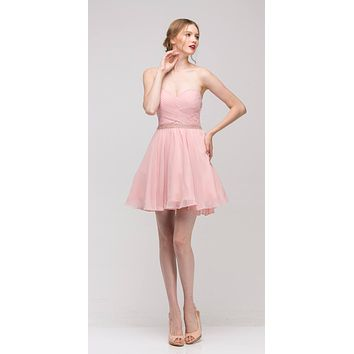 Dusty Pink Strapless Embellished Waist Short Homecoming Dress