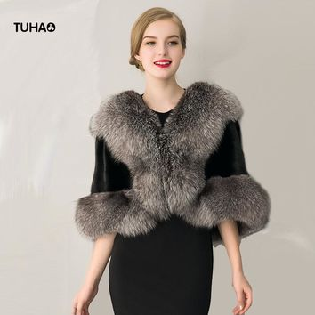 TUHAO Autumn Winter Soft Faux Fox Fur Shrug Sexy Lady's Evening Shawl Short Faux Fur Coat Slim High Street Outerwear LQ223
