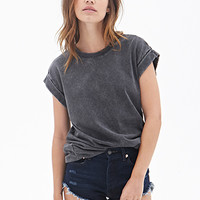 FOREVER 21 Distressed Crew Neck Tee Black