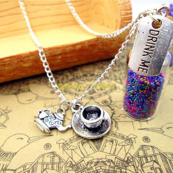 Drink Me necklace alice in wonderland teapot and cup tea time necklace 2ml glass bottle (inside:9 colors)