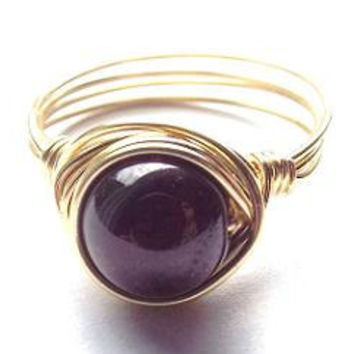 Garnet ring/wire wrap ring/gold ring/dark red ring/Garnet and gold/simple ring/gifts under 15/burgundy ring/made to order/boho ring/chic