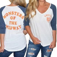 Chicago Bears Womens Vintage Raglan Sleeve T-Shirt | SportyThreads.com