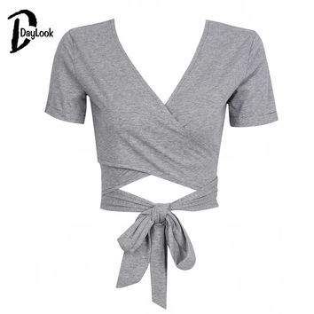 DayLook 2016 Summer Crop Top White&Gray V-neck Cross Front Tied Bow Sexy Cropped Top Plus Size S-XL