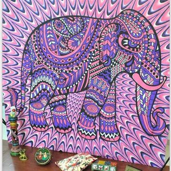 203x153cm Pink Elephant Tapestry Indian Mandala Hippie Wall Hanging Tapestries Boho Beach Towel Yoga Mat Bedspread Table Cloth