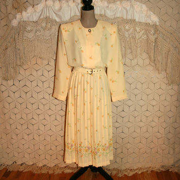 Vintage Yellow Dress Floral Chiffon Pleated Skirt 80s Long Sleeve Blouse Dress Spring Dress Leslie Fay Size 14 Dress Large Womens Clothing
