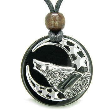 Amulet Black Agate Howling Wolf, Moon and Stars Black Agate Pendant Necklace