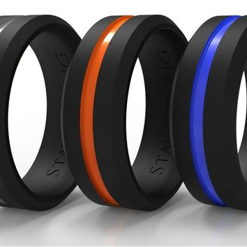 Silicone Wedding Bands (Rings) for Him. 3-PACK. Men Rings Designed by ARUA for Sportsmen, Workers and Active Types. Grey, Orange, Blue Thin Middle Line. Gift Box included.