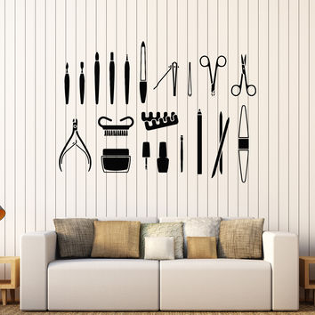 Vinyl Wall Decal Beauty Salon Tools Nail Manicure Stylist Stickers Unique Gift (435ig)