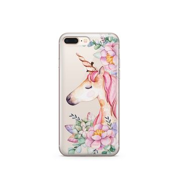 CLEARANCE iPhone 7 Clear Case Cover - Floral Unicorn