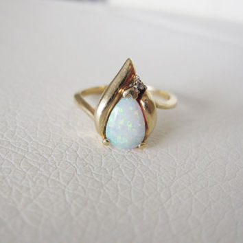 10k Vintage Natural Pear Opal Diamond Solid Yellow Gold Estate Antique Edwardian Victorian Wedding Engagement Halo Princess Birthstone Ring