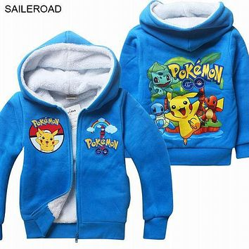 Winter POKEMON GO Casual Children Kids Boys Jackets Coat Full Sleeve Teenager Girl Coat With Hooded Thick Clothing SAILEROAD