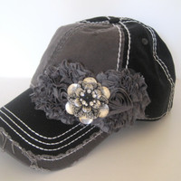 Two Tone Grey and Black Trucker Baseball Cap Hat with Grey Chiffon Flowers and Silver and Black Stone Accent