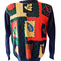 Fall Patchwork Sweater Autumn Leaves Pullover Style Women's Small