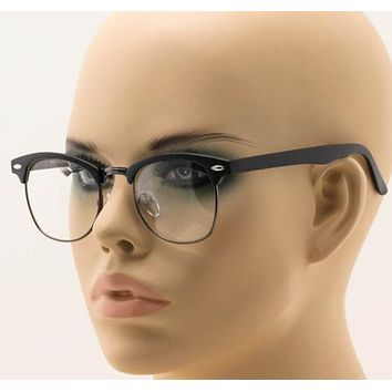 New Mens Classic Horned Half Rim Hipster Nerdy Retro Club Style Eye Glasses