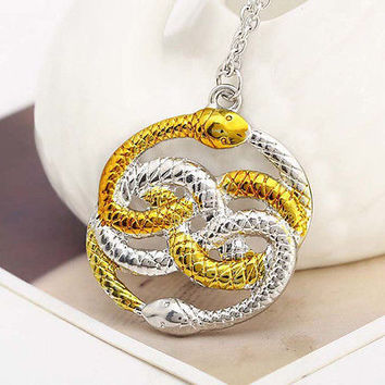 Gold&Silver Endless Double Snake Harry Potter Necklace Pendant Movies Jewelry