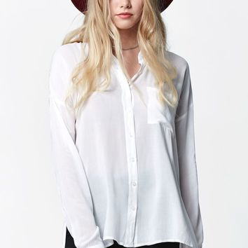 LA Hearts Oil Wash Tunic Button-Down Shirt - Womens Shirts