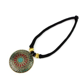 Tibetan Brass Pendant Necklace from Nepal Indian vintage ethnic jewelry