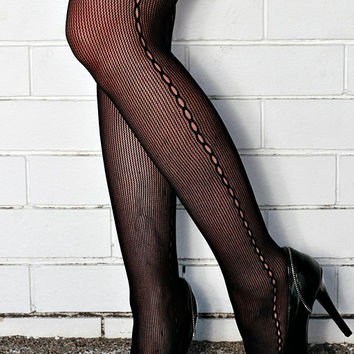 Vintage High Quality Black Seam, Steampunk, Punk, Mod Nylon Tights Pantyhose One Size