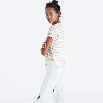 Whisper Cotton Crewneck Tee in Andy Stripe : | Madewell