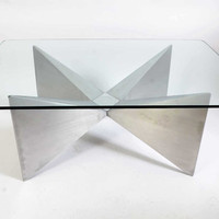 Aluminum Sculptural Base with a Glass top Coffee Table 1970 Mid-century Modern