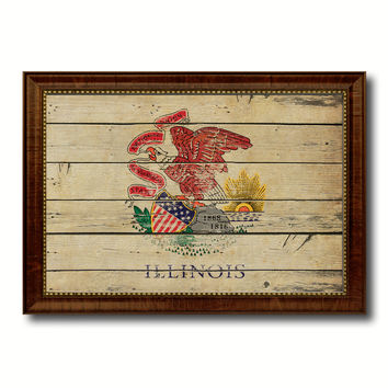 Illinois State Vintage Flag Canvas Print with Brown Picture Frame Home Decor Man Cave Wall Art Collectible Decoration Artwork Gifts