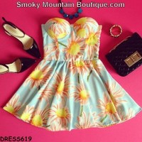 Sunshine Floral Retro Bustier Dress with Adjustable Straps - Size S/M BD 619 - Smoky Mountain Boutique