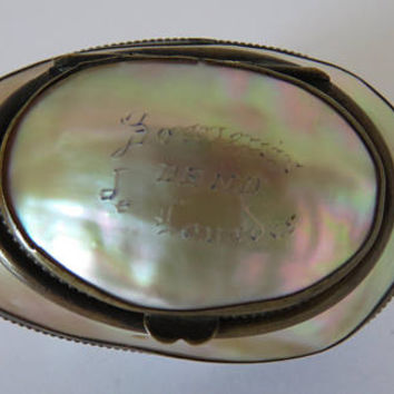 Antique French, Mother Of Pearl, Trinket Box, Reliquary Box