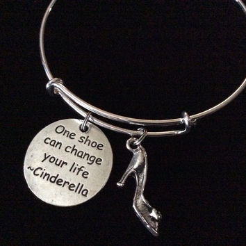 One Shoe Can Change Your Life - Cinderella Quote with Shoe Charm on a Silver Expandable Bangle Bracelet