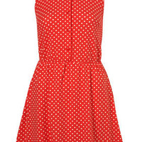 Red Spotted Scallop Collar Dress - Dresses - Clothing - Topshop